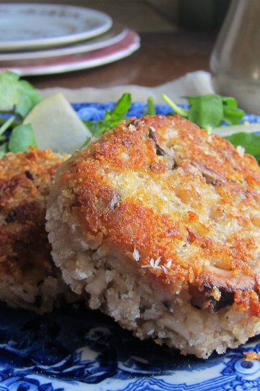 Walnut, Stilton and Mushroom Risotto Cakes