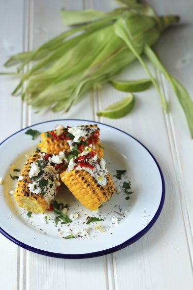 Grilled Sweet Corn with Feta, Chilli, Sumac and Yoghurt