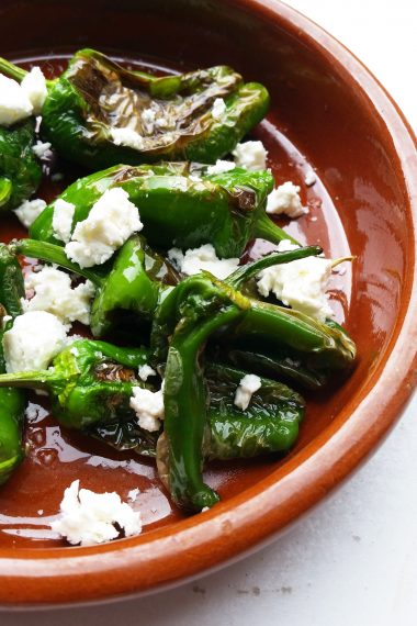Padrón Peppers with Feta Cheese